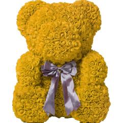 Мишка из желтых роз