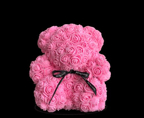 Медведь из розовых роз 25 см