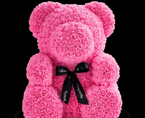 Медведь из розовых роз 70 см