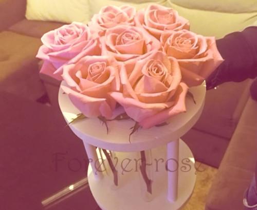 7 роз в пробирке на круглой подставке