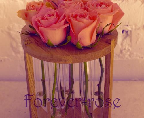 7 розовых роз в пробирке на круглой подставке
